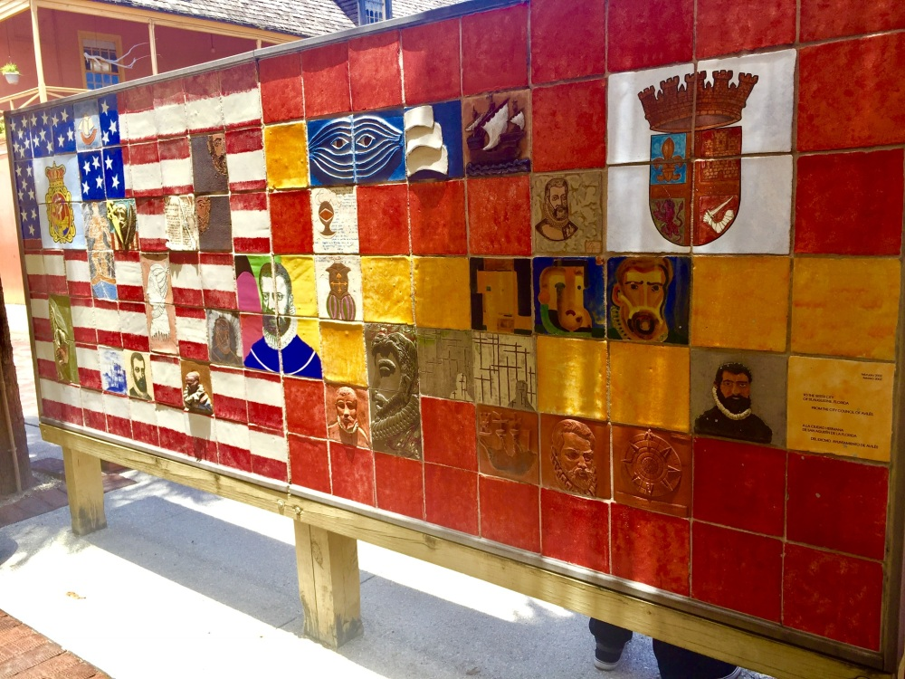 colorful ceramic mosaic tile in Old Town of American and Spanish flags