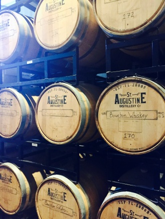 oak barrels of bourbon whiskey